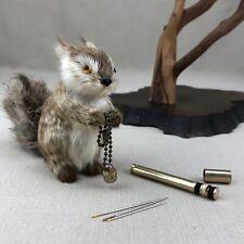 Brass Keychain with Hidden Travel Sewing Kit Vintage Needle Thread Storage