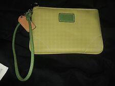 Coach Lime Green Classic Leather Trim Top Zip Wristlet Purse