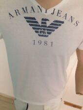 Armani Jeans T-Shirt mit V Ausschnitt Weiß Gr. L