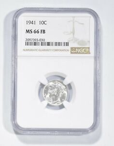 MS66 FB 1941 Mercury Dime - Graded NGC *740