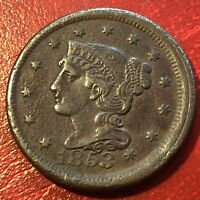 1853 Large Cent Braided Hair One Cent ERROR - OFF CENTER Misaligned Dies #13667