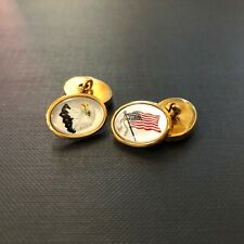 Hand Painted American Flag/Eagle 18ct Yellow Gold Cufflinks Deakin and Francis