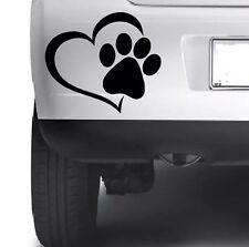 Pet Paw Print With Heart Dog Cat Vinyl Decal Wall Car Window Bumper Sticker