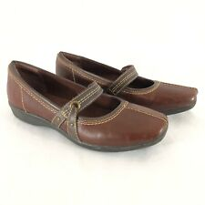 Clarks Collection Womens Shoes Mary Jane Loafers Soft Cushion Brown Size 9.5