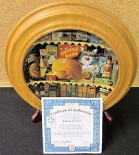 "Charles Wysocki ""ETHEL THE GOURMET"" 8"" Bradford Exchange Cat Plate & Wood Frame"