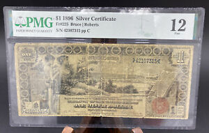 1896 ($1) ONE DOLLAR EDUCATIONAL SILVER CERTIFICATE NOTE PMG GRADED FINE 12