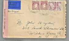 1942 airmail censored cover Ros Comain Ireland to Wilkes Barre Pa John Hayden