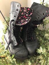 Dr. Martens Triumph 1914 Tall Lace Black/lGray Floral Combat Boots Womens US 7