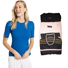 M&S COLLECTION  Ribbed Split Cuff Short Sleeve Jumper Blue Black Pink Size 6- 24