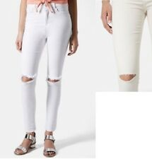 TOPSHOP Moto Leigh skinny ripped knee jeans (white) 25x32 NWOT