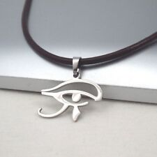 Pendant Dark Brown Leather Ethnic Necklace Silver Egypt Eye Of Horus Egyptian