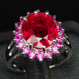 RUBY BLOOD RED OVAL 6.90 CT. 925 STERLING SILVER RING SIZE 6.5 JEWELRY GIFT