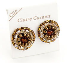 Claire Garnett Brown Bronze Gold Beaded Clip On Earrings 25mm Diameter NEW!
