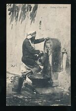 Social History ARAB Water Carrier at Well 1911 PPC