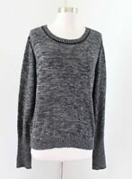 Soft Joie Womens Gray Black Marled Knit Crewneck Pullover Sweater Size L