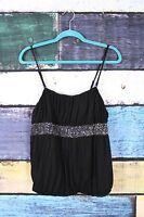 Lane Bryant Black Embellished Stretch Tank Top Blouse Shirt Plus 14/16 0X 1X