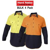 Mens Hard Yakka Shirt Hi-Vis 4 Pack Gusset Long Sleeve Work Safety Cotton Y07984