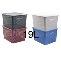 NEW 19L Plastic Storage Basket w Lid Home Office Organizer White Grey Brown