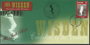 GRENADA WISDEN 2000 CRICKET SIR JACK HOBBS 1v FIRST DAY COVER No 1 of 4