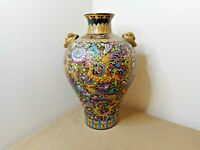 ANTIQUE CHINESE VASE HANDPAINTED PORCELAIN WITH GILDED GOLD BAT HANDLES  SIGNED