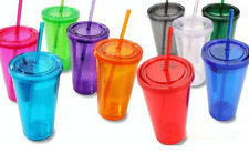 Double-Wall Plastic Tumblers with Lids 16 oz. assorted color $6.37 Free Shipping