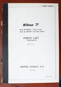 NIKON F PARTS LIST (REVISED)-2, 1/79/101372