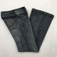 Younique Jeans Juniors Womens Embellished Beaded Pockets Bootcut Low Rise Size 7
