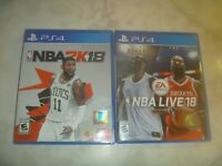 NBA 2K18 (2017) & NBA LIVE 18 Sony Playstation 4 PS4 2 Game Set Lot