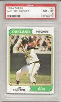1974 TOPPS #7 CATFISH HUNTER, PSA 8 NM-MT,OAKLAND ATHLETICS HOF, L@@K !