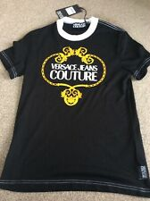 Versace Jeans Couture Black & White Gold Logo Print SIZE S RRP£110  T-shirt