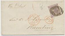 """2468 1865 QV 6D Pl.4 (hairlines """"NJ"""") LONDON Numeral """"19"""" + 6D PAID CASH HAMBURG"""