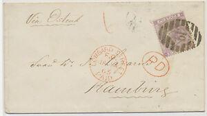 """GB 1865 QV 6D Pl.4 (hairlines """"NJ"""") LONDON Numeral """"19"""" + 6D PAID CASH HAMBURG"""