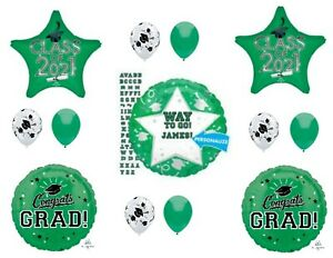 PERSONALIZE! CLASS OF 2021 Green Graduation Party Balloons Decoration Supplies