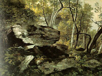 Art Oil Durand Asher Brown American Study from Nature Rocks and Trees on canvas