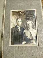VINTAGE PHOTOGRAPH YOUNG COUPLE POSING AFTER THEIR WEDDING; 1914