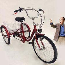 Senioren Erwachsenendreirad 24 Zoll 6 Gänge Dreirad für Erwachsene + Korb Licht