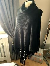 QUIZ Stunning Black Wool Poncho One Size
