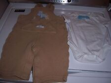Cherokee's White 3-6 month top with Carter's 6-9 Tan Overalls - good condition