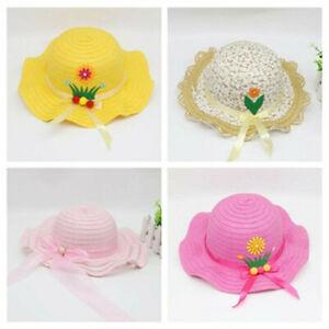 Lovely Baby Kids Girl Wide Brim Floral Flower Straw Cap Visor Sun Hat Beach Hats