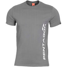 Pentagon Ageron T-Shirt Vertical Logo Mens Gym Outdoor Cotton Army Top Wolf Grey