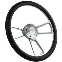 "14"" Billet Steering Wheel (Black Wrap, Chevy Horn Button, Adapter A01)"