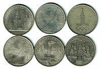 Russia USSR Soviet Moscow Olympic FULL SET 1 Rouble 1979 1980 Coins 6 pcs