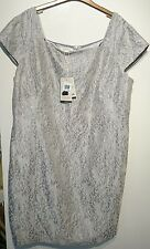 Monsoon Florri dress uk 22 silver floral with metallic thread bnwt