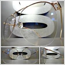 Men or Women OVERSIZE VINTAGE RETRO Style Clear Lens EYE GLASSES Rose Gold Frame