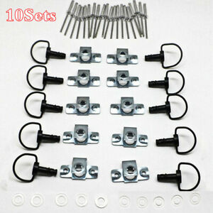 10Sets Quick Release D-RING Fairing Fasteners Rivet Style Clips 17mm 1/4 Turn