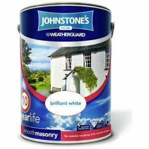 Johnstones Masonry White Paint Weatherguard Outside Exterior Paint 10 Year 5L