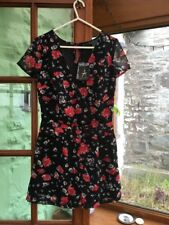 PRIMARK: Gorgeous Floaty Black / Flower Print Playsuit Shorts UK8 new with tags