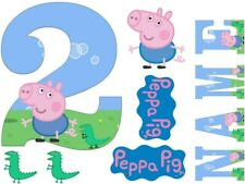 GEORGE PEPPA PIG INSPIRED NAME AND NUMBER PERSONALISED CAKE EDIBLE ICING TOPPER
