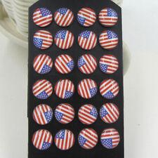 STAINLESS STEEL POST EARRINGS 8mm American Flag USA Patriotic Stud Pair Jewelry