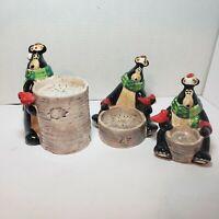 Ceramic Black Bear Christmas Candle Holder Tree Stump Scarf Cardnal Set of 3